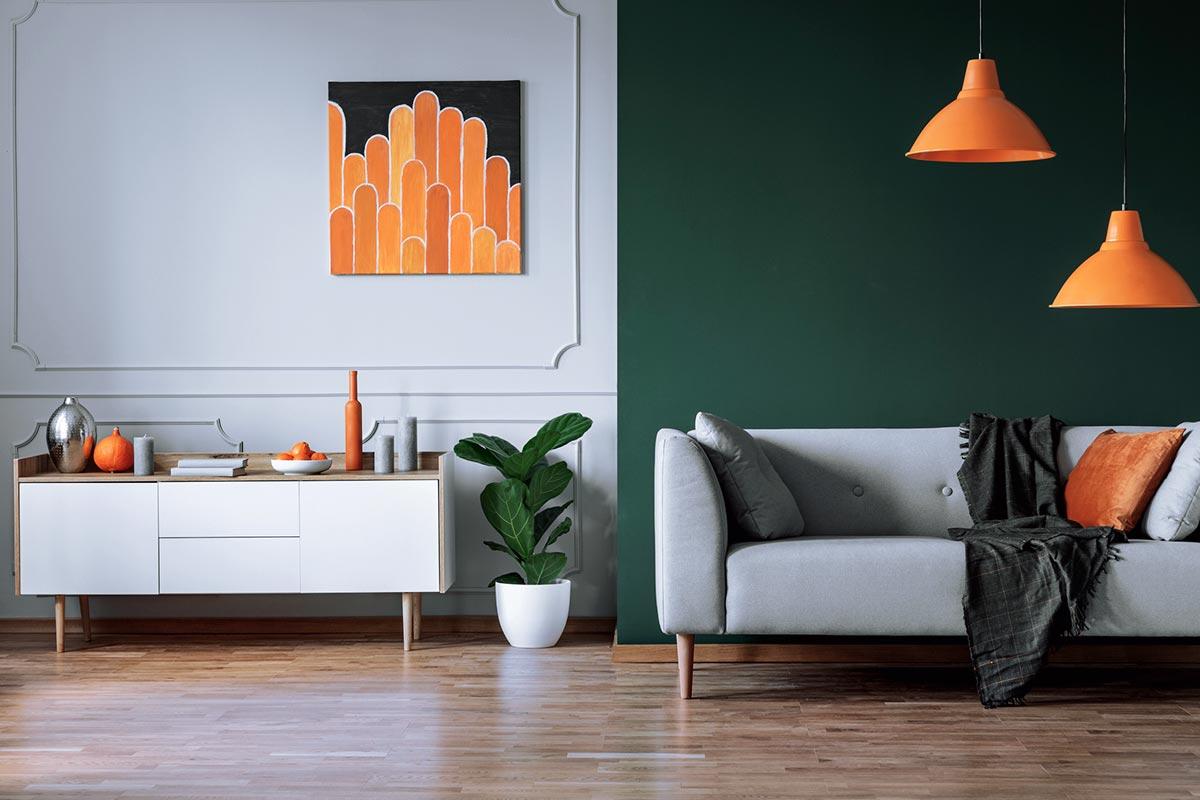 Gruen-orange-Farbkombination