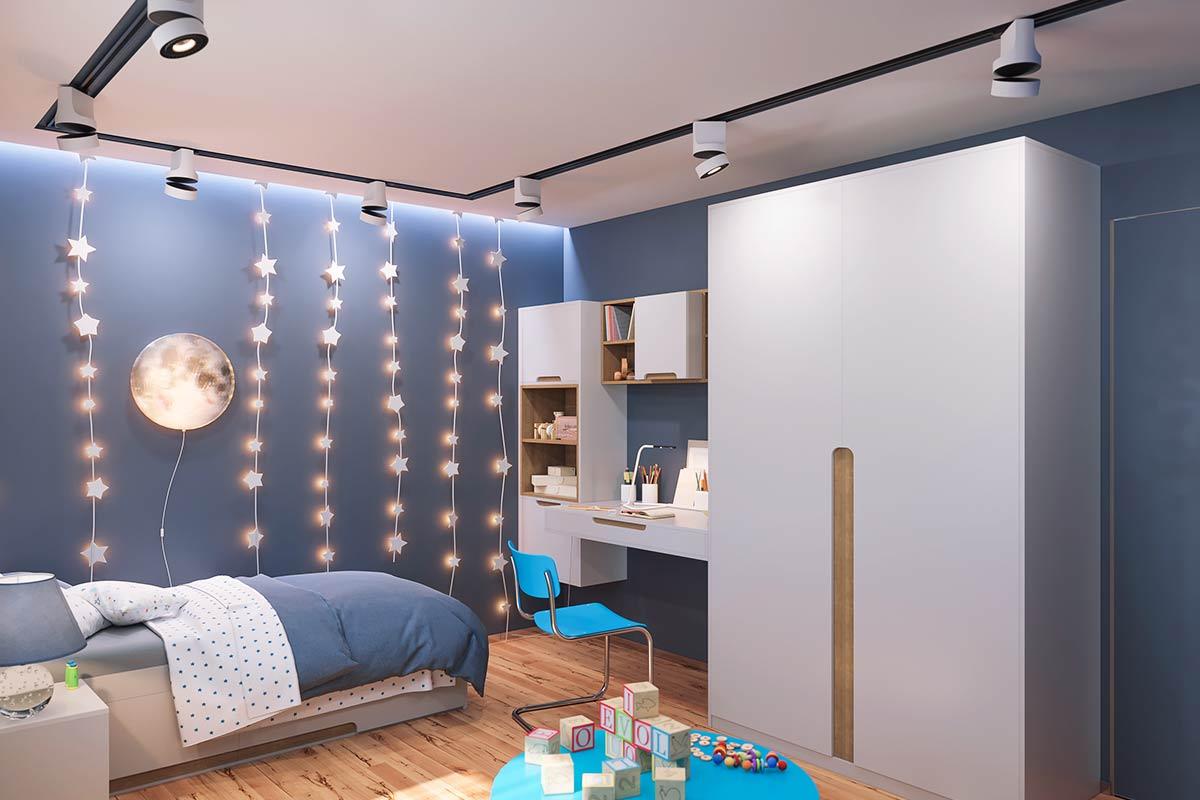 Blaue-Wandfarbe-Kinderzimmer