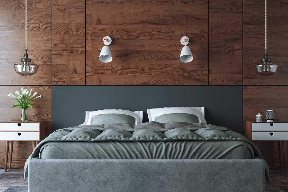 Schlafzimmer Wand mit Holz verkleiden